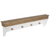 White & Natural Scalloped Wood Shelf With Hooks