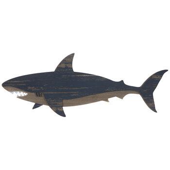 Blue Driftwood Shark Wood Wall Decor