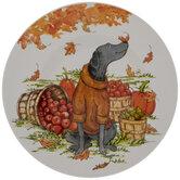 Dog In Orange Sweater Autumn Plate