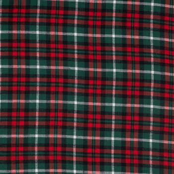 Red, Green & White Plaid Flannel Fabric