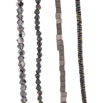 Plated Hematite & Glass Bead Strands