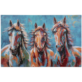 Blue & Orange Horses Canvas Wall Decor