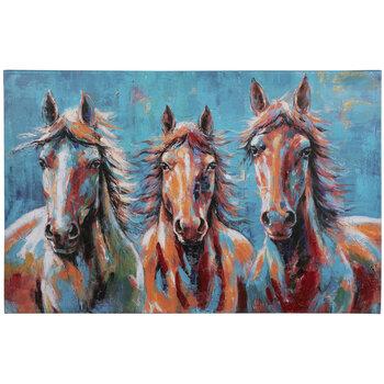Blue & Orange Horses Canvas Wall Decor