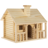 Log Cabin Wood Birdhouse