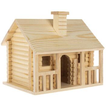 Log Cabin Wood Birdhouse