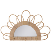 Woven Half Circle Wall Mirror With Hooks