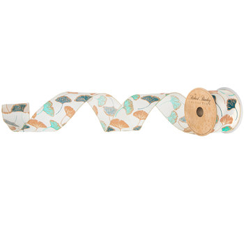 """Teal, Copper, Turquoise & Cream Ginkgo Leaf Wired Edge Ribbon - 2 1/2"""""""