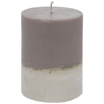 Brown & White Two-Tone Pillar Candle