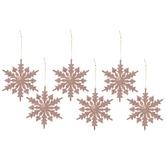 Pink Glitter Snowflake Ornaments