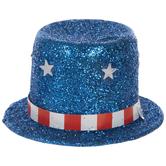Blue Glitter Uncle Sam Top Hats