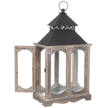 Antique Swiveling Door Wood Lantern