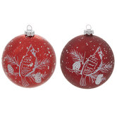 Red Snowy Cardinal Ball Ornaments