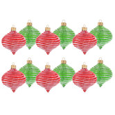 Red & Green Striped Onion Ornaments