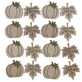 Leaf & Pumpkin Wood Stickers