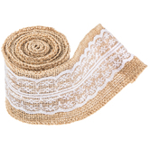 """White & Natural Burlap Trim With Lace - 2 1/2"""""""