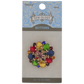 Multi-Color Rhinestone Shank Button - 33mm