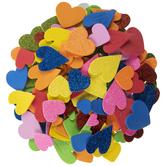 Solid & Glitter Heart Foam Stickers