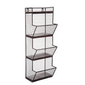 Black Three-Tiered Metal Wall Basket
