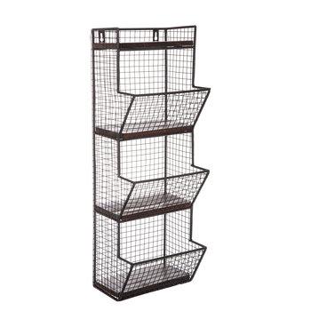 Black Three-Tiered Metal Wall Basket