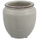 Gray Crackled Flower Pot