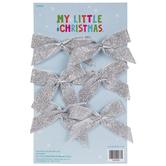 Mini Silver Glitter Bow Ornaments