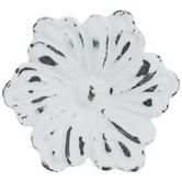 Distressed White Flower Metal Knob