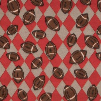 Red & Silver Footballs Fleece Fabric