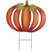 Orange Embossed Pumpkin Metal Garden Stake