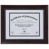 "Brown Wood Document Frame - 11"" x 8 1/2"""