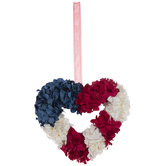 Red, White & Blue Floral Heart Ornament