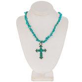 Southwestern Imitation Turquoise Cross Necklace