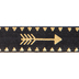 Black & Gold Arrows Elastic Trim - 1/2