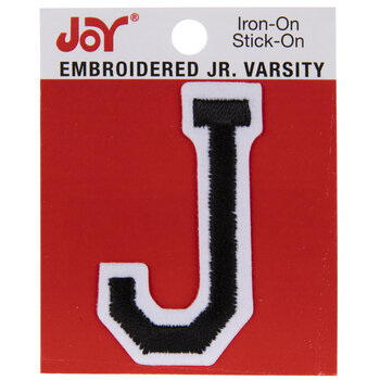 "Black Junior Varsity Letter Iron-On Applique J - 2"""