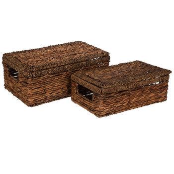 Chocolate Banana Leaf Basket Set With Lids