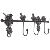Distressed Birds Metal Wall Decor With Hooks