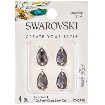 Graphite Drop Sew-On Flatback Crystals