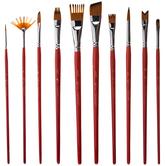 Orange Taklon Acrylic & Watercolor Paint Brushes - 10 Piece Set