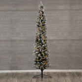 Ultra Slim Flocked Brewster Pine Pre-Lit Christmas Tree - 9'