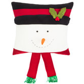 Knit Snowman With Scarf Pillow