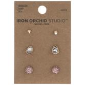 Iridescent Pink Rhinestone Earrings