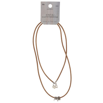 Sterling Silver Plated Leather Cord Necklace