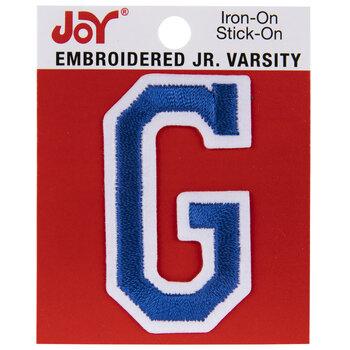 "Blue Junior Varsity Letter Iron-On Applique G - 2"""