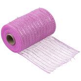 "Light Pink Metallic Deco Mesh Ribbon - 5 1/2"""