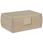 Wood Rectangle Box With Hinged Lid