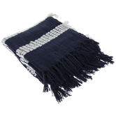 Blue & White Chunky Fringe Throw Blanket