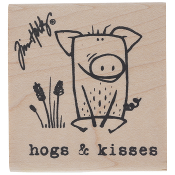 Hogs & Kisses Rubber Stamp