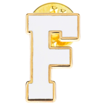 White Letter Metal Pin - F