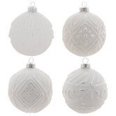 White & Silver Textured Ball Ornaments