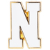 White Letter Metal Pin - N