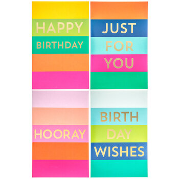 Bright Striped Birthday Cards